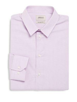 Armani Collezioni Modern Fit Checked Cotton Dress Shirt In Pink