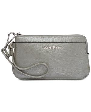 Calvin Klein Wristlet In Smoky Silver