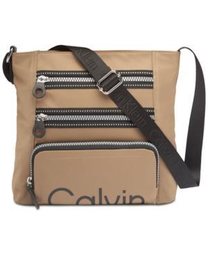 Calvin Klein Athleisure Medium Crossbody In Sand/black