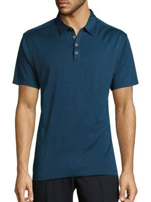 John Varvatos Solid Silk-blend Polo In Lake Blue