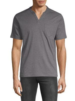 Saks Fifth Avenue Short-sleeve Cotton Henley In Charcoal