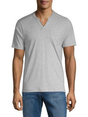 Saks Fifth Avenue Short-sleeve Cotton Henley In Grey