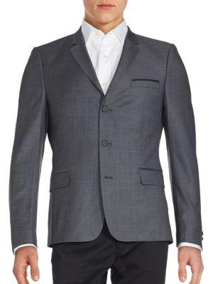 The Kooples Brushed Three-button Wool Jacket In Grey