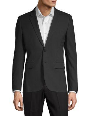 Saint Laurent Gaberdine Wool Jacket In Black