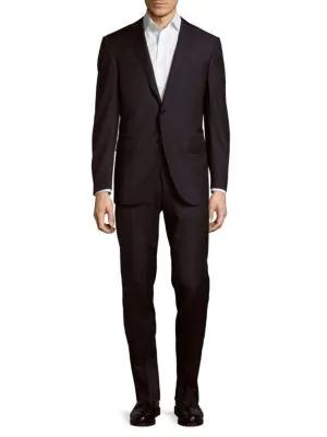 Corneliani Italian Two-piece Wool Striped Suit In Dark Blue Stripe