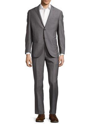 Corneliani Wool Narrow Pinstripe Suit In Medium Grey Stripe
