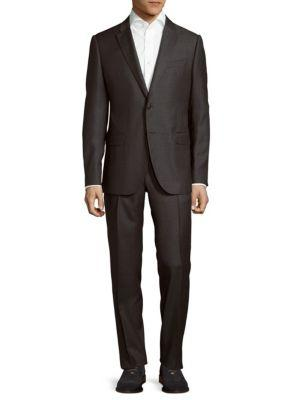 Armani Collezioni Wool Windowpane Suit In Slate Grey
