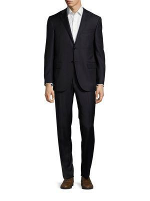 Corneliani Virgin Wool & Cashmere Striped Suit In Blue