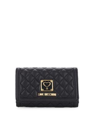 Love Moschino Quilted Foldover Wallet In Black