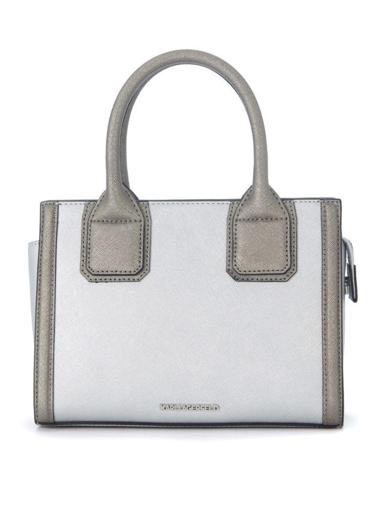 Karl Lagerfeld Klassic Mini Silver Leather Handbag In Argento