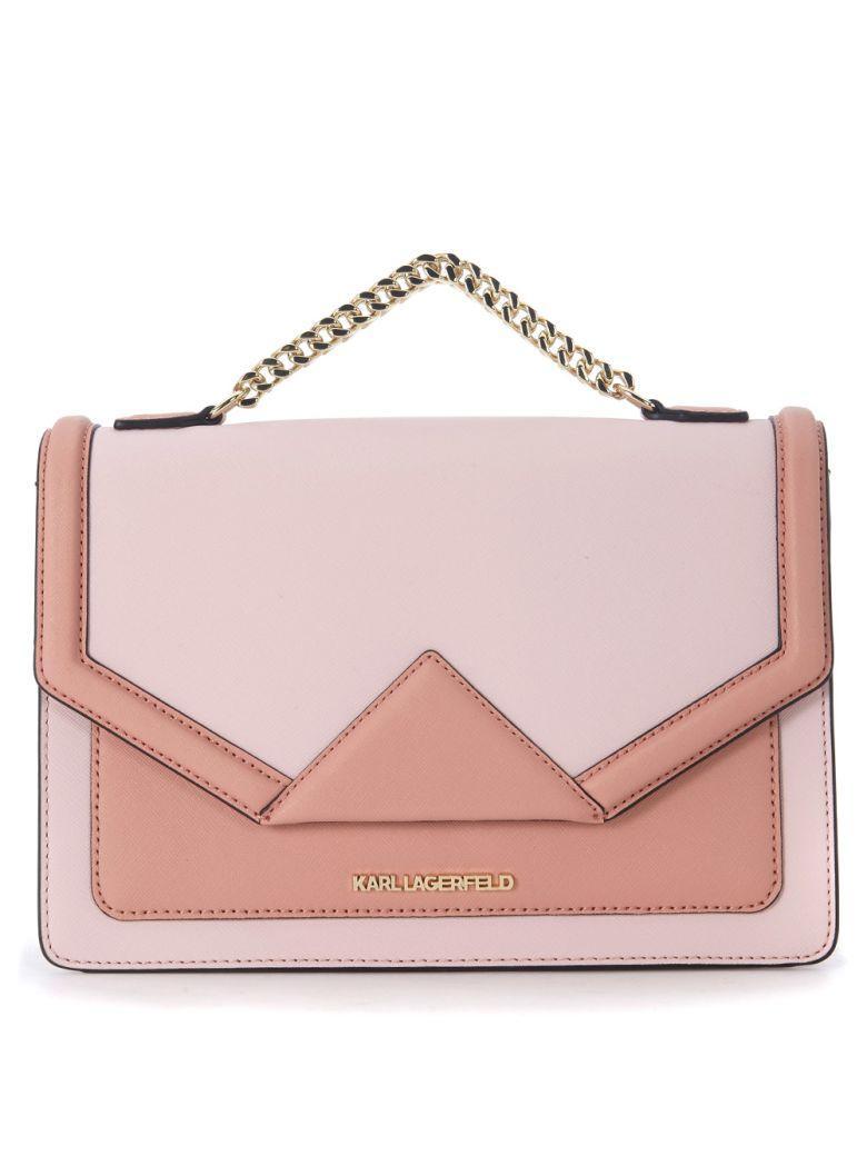 Karl Lagerfeld Klassic Pink Leather Handbag In Rosa