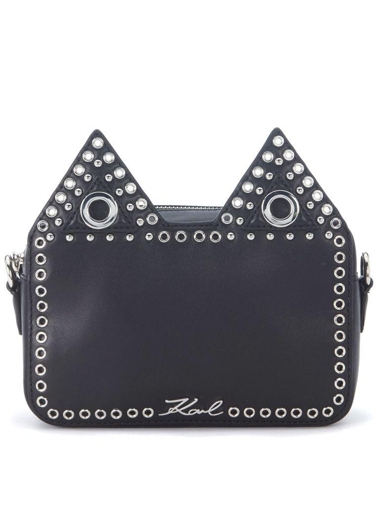 Karl Lagerfeld Black Leather Shoulder Bag With Cat Ears And Stubs. In Nero
