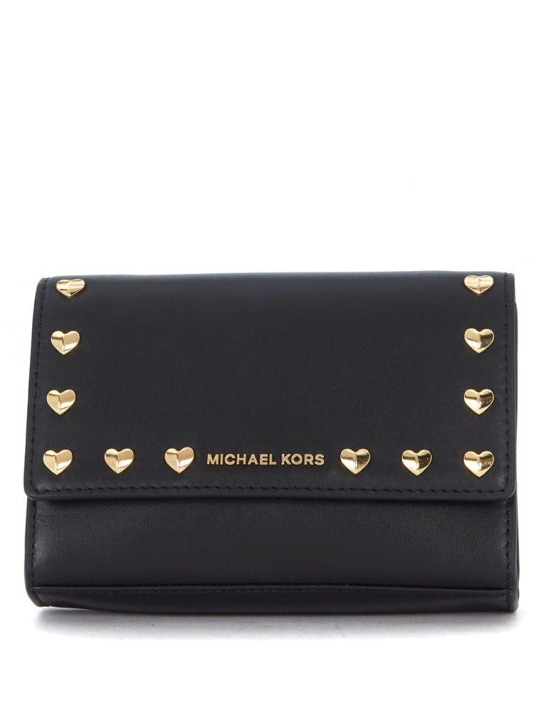 Michael Kors Ruby Black Leather Shoulder Bag With Golden Heart Studs. In Nero
