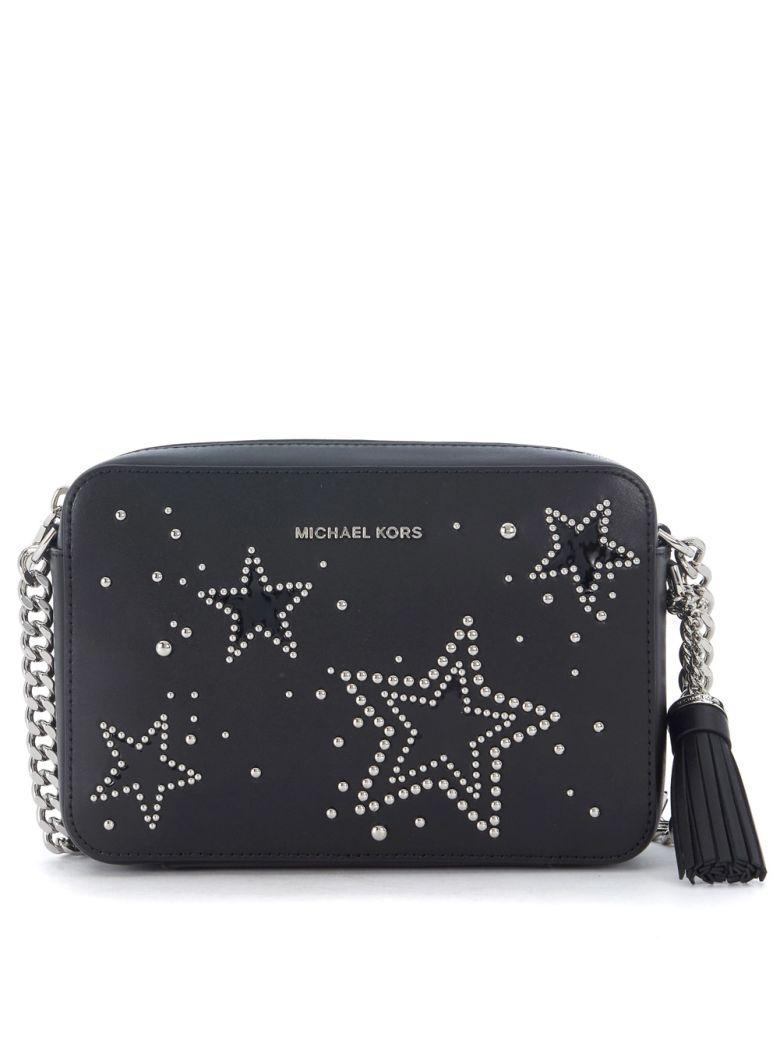 Michael Kors Ginny Black Leather Shoulder Bag With Studs In Nero