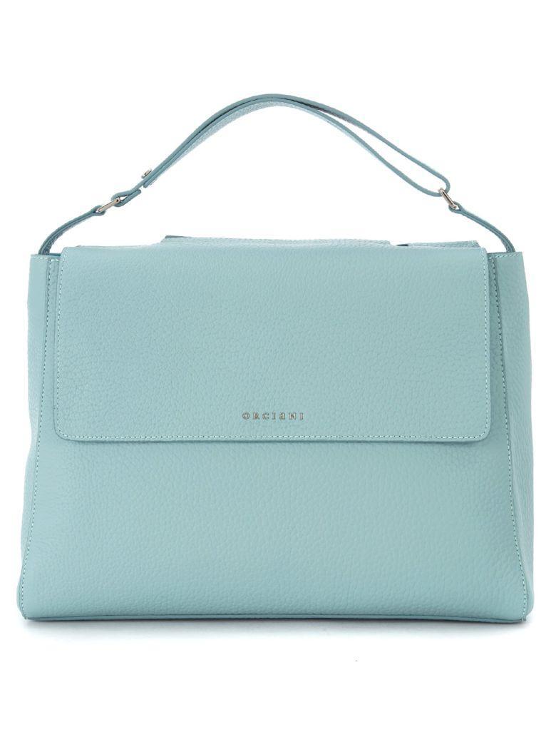 Orciani Anise Tumbled Leather Handbag In Azzurro