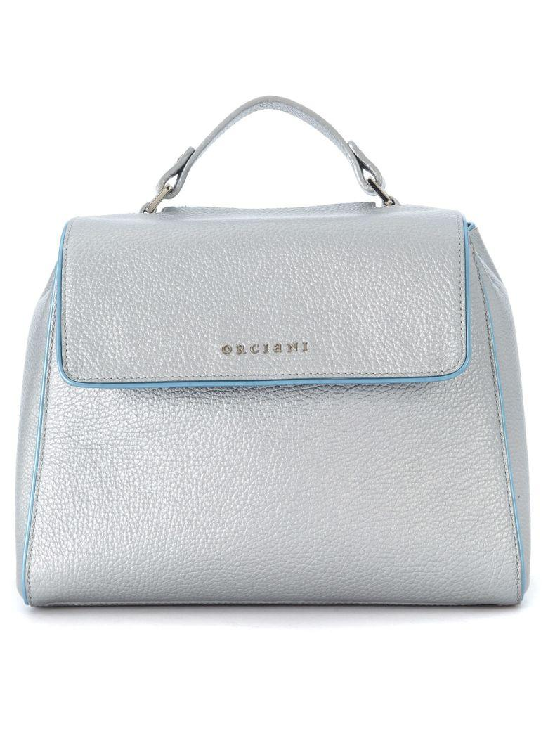 Orciani Silver Leather Hand Bag In Argento