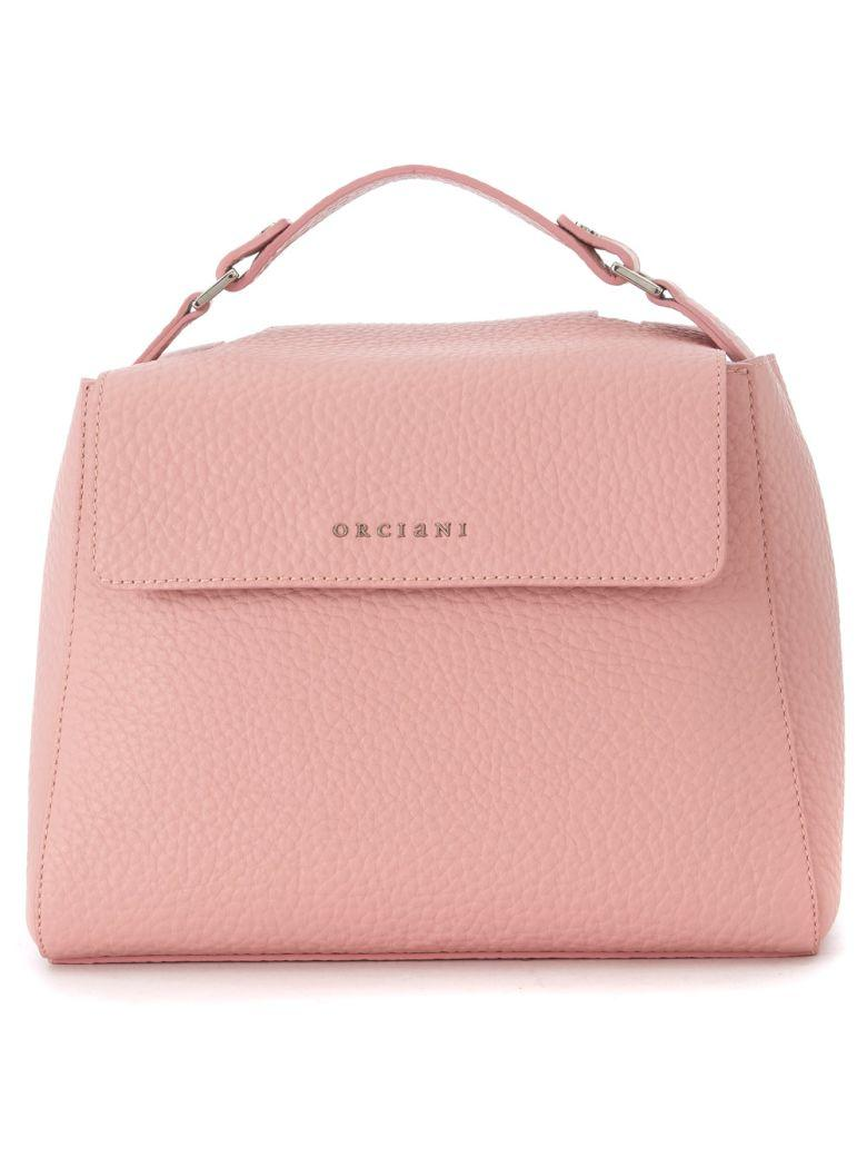 Orciani Peach Tumbled Leather Handbag In Rosa