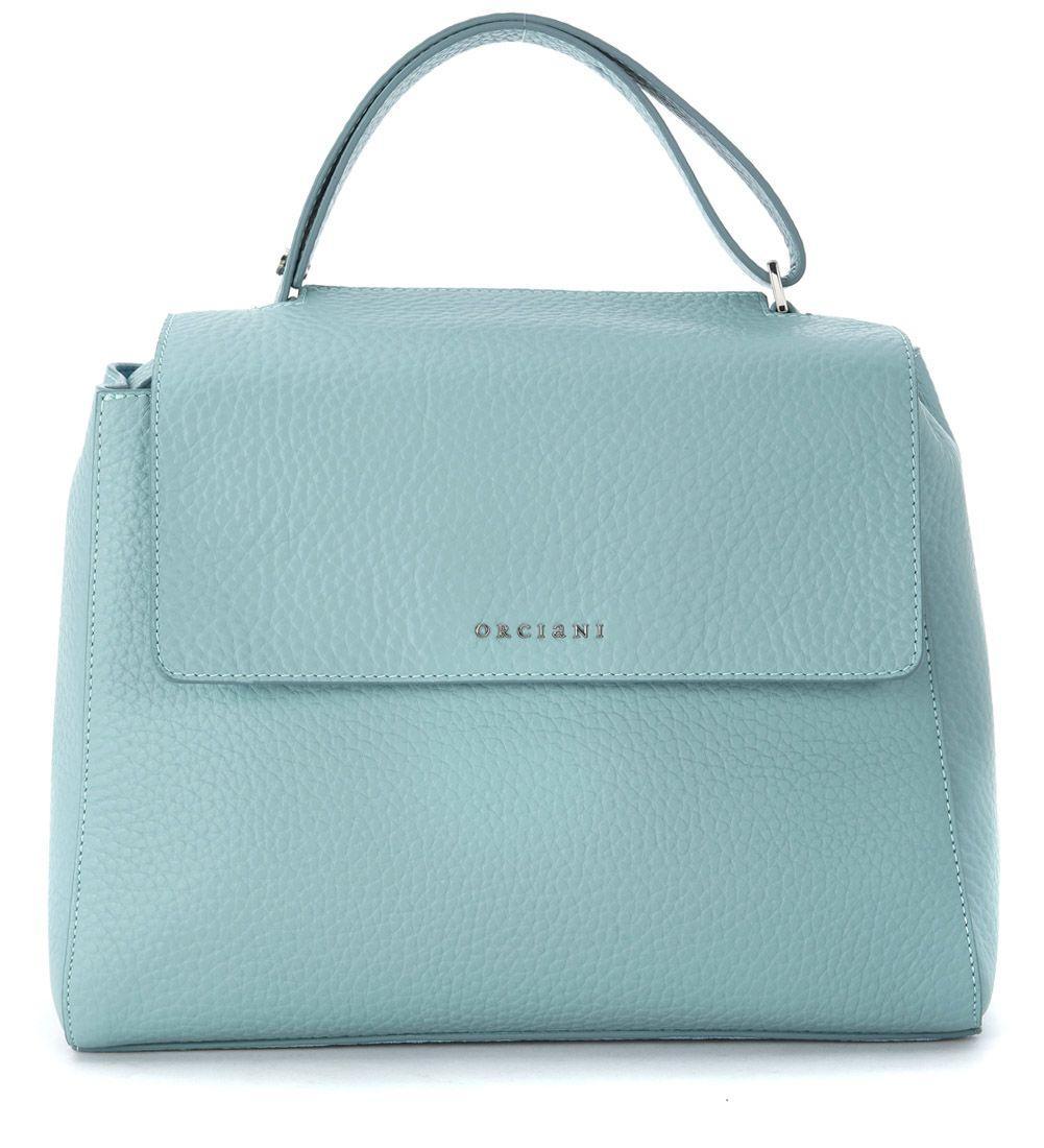 Orciani Tumbled Anise Light-blue Leather Handbag In Azzurro