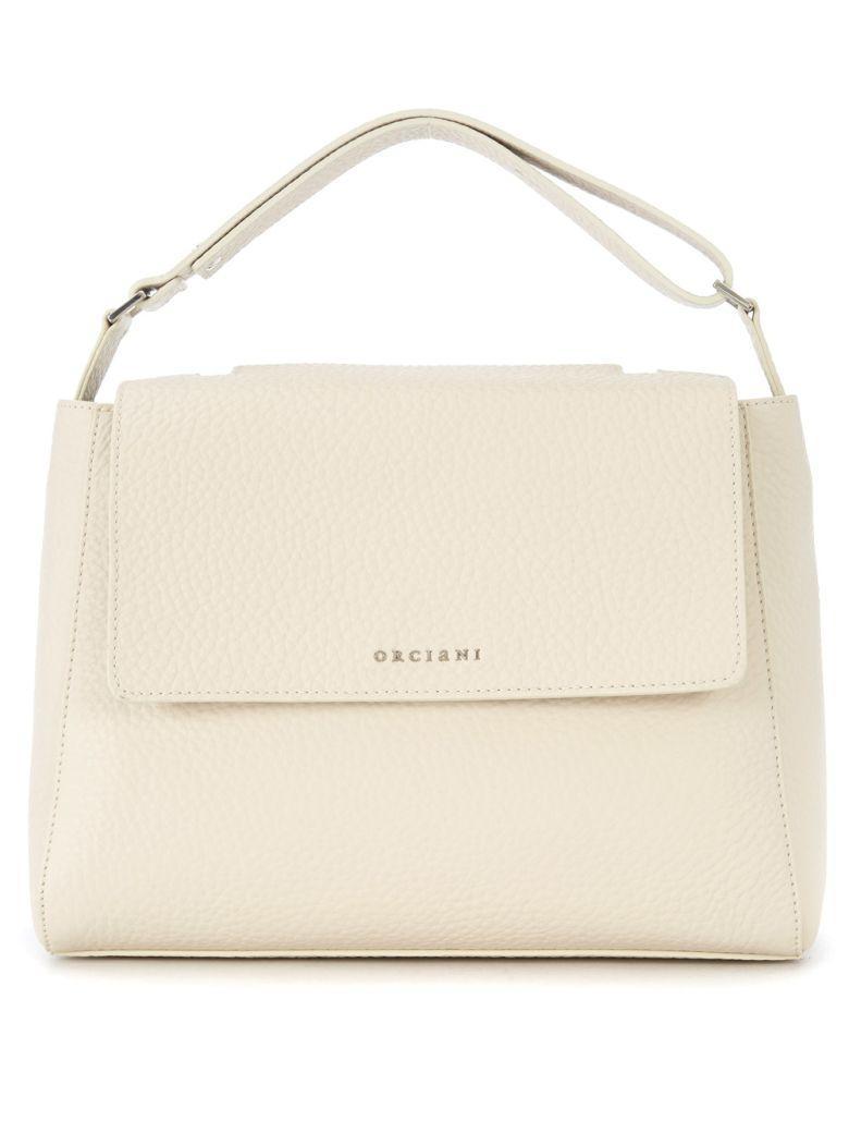 Orciani Tumbled Ivory Leather Handbag In Bianco