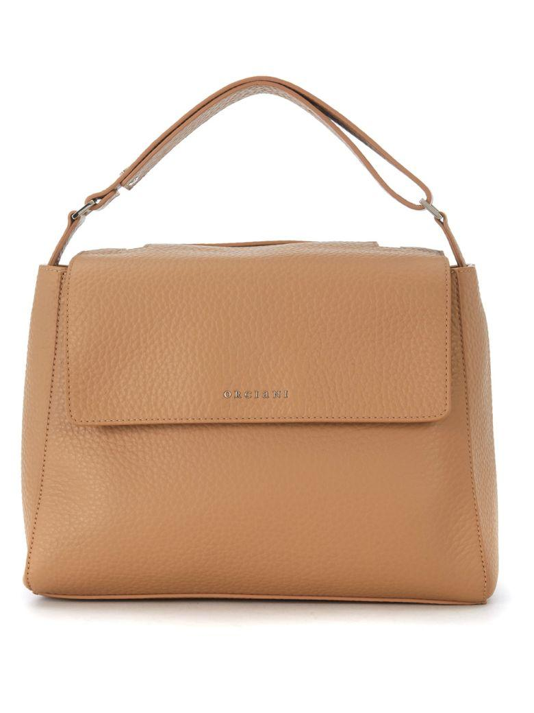 Orciani Tumbled Cappuccino Color Leather Handbag In Marrone