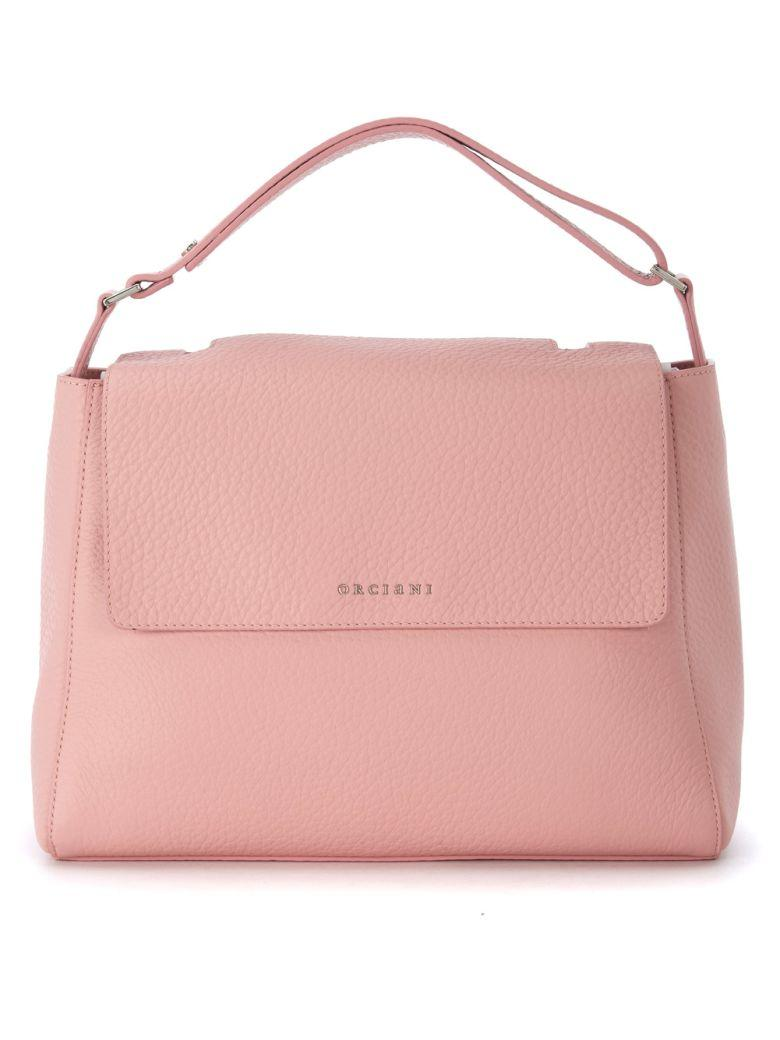Orciani Peach Tumbled Leather Handbag In Rosa