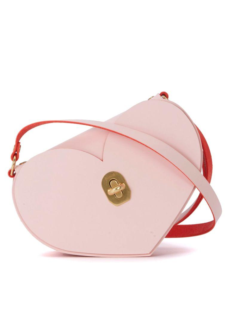 Niels Peeraer Heart Pink And Red Leather Bag In Rosa