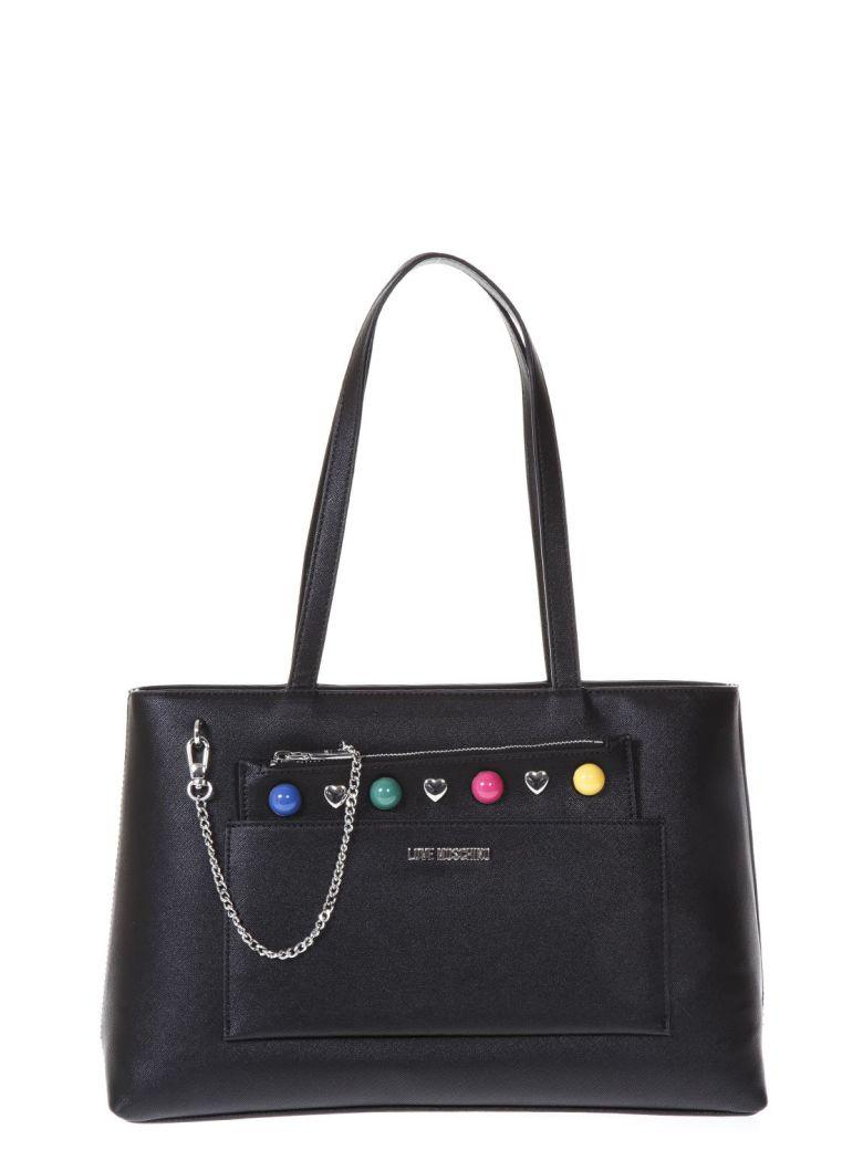 Love Moschino Black Shopping Bag Multicolored Studs Details