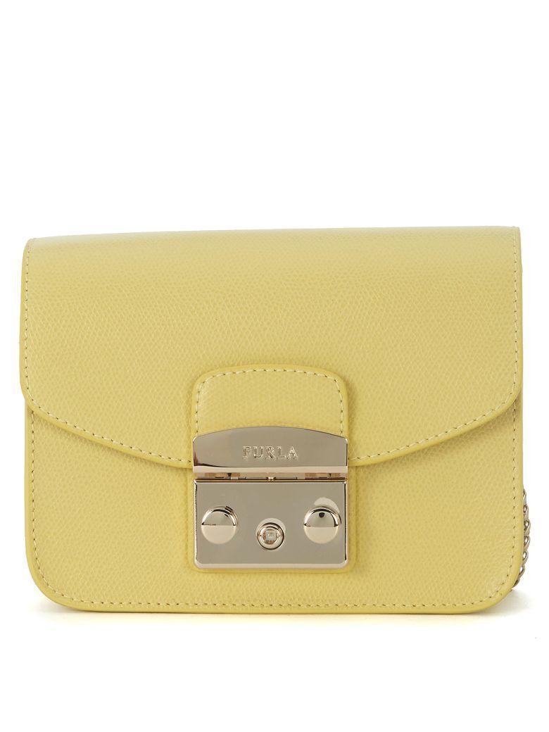 Furla Metropolis Mini Yellow Leather Shoulder Bag In Giallo