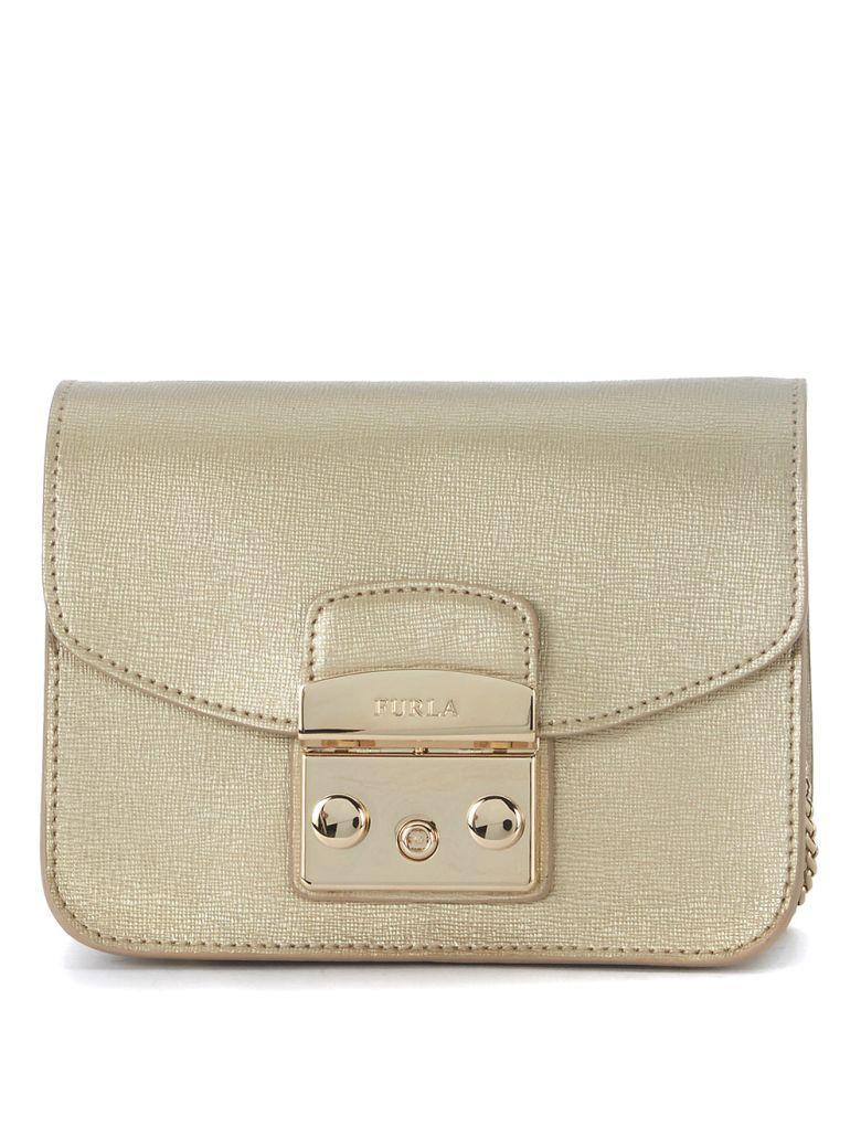 Furla Metropolis Mini Golden Leather Shoulder Bag In Oro