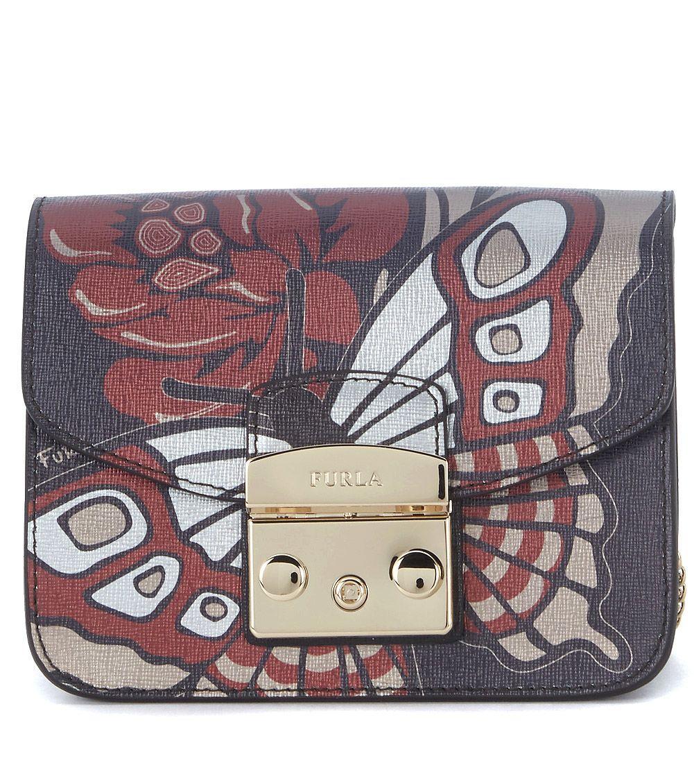 Furla Metropolis Mini Black Leather Shoulder Bag With Butterflies In Nero