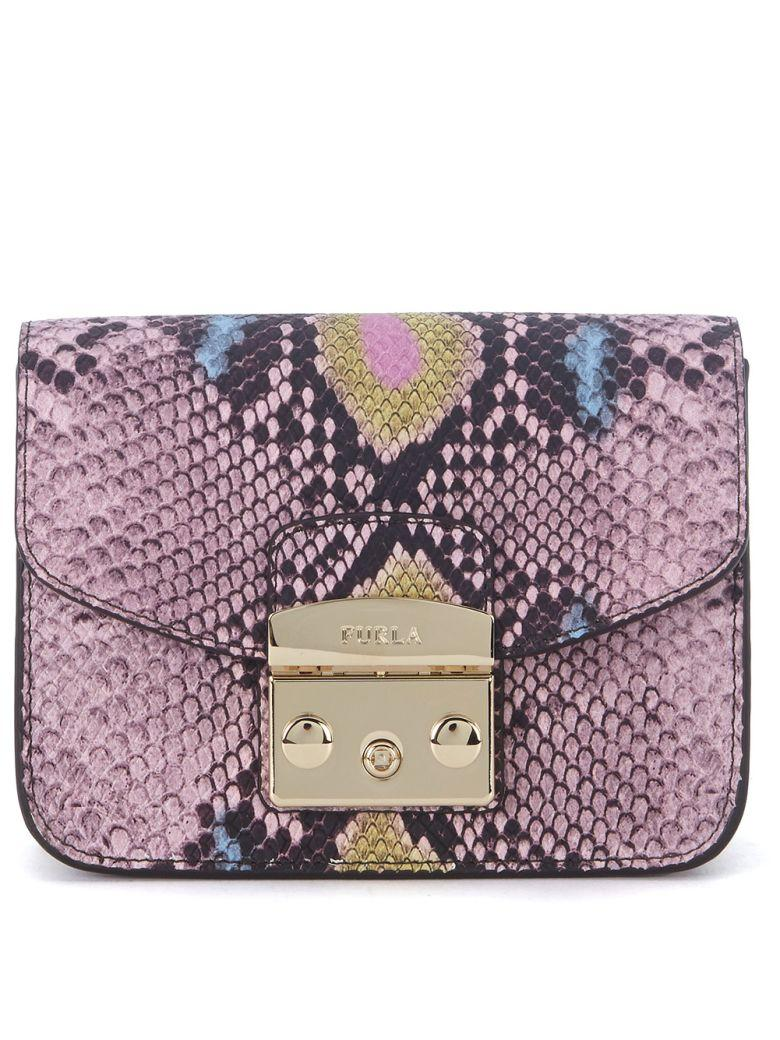 Furla Metropolis Mini Pink Wisteria Calf Leather Shoulder Bag With Python Effect In Rosa