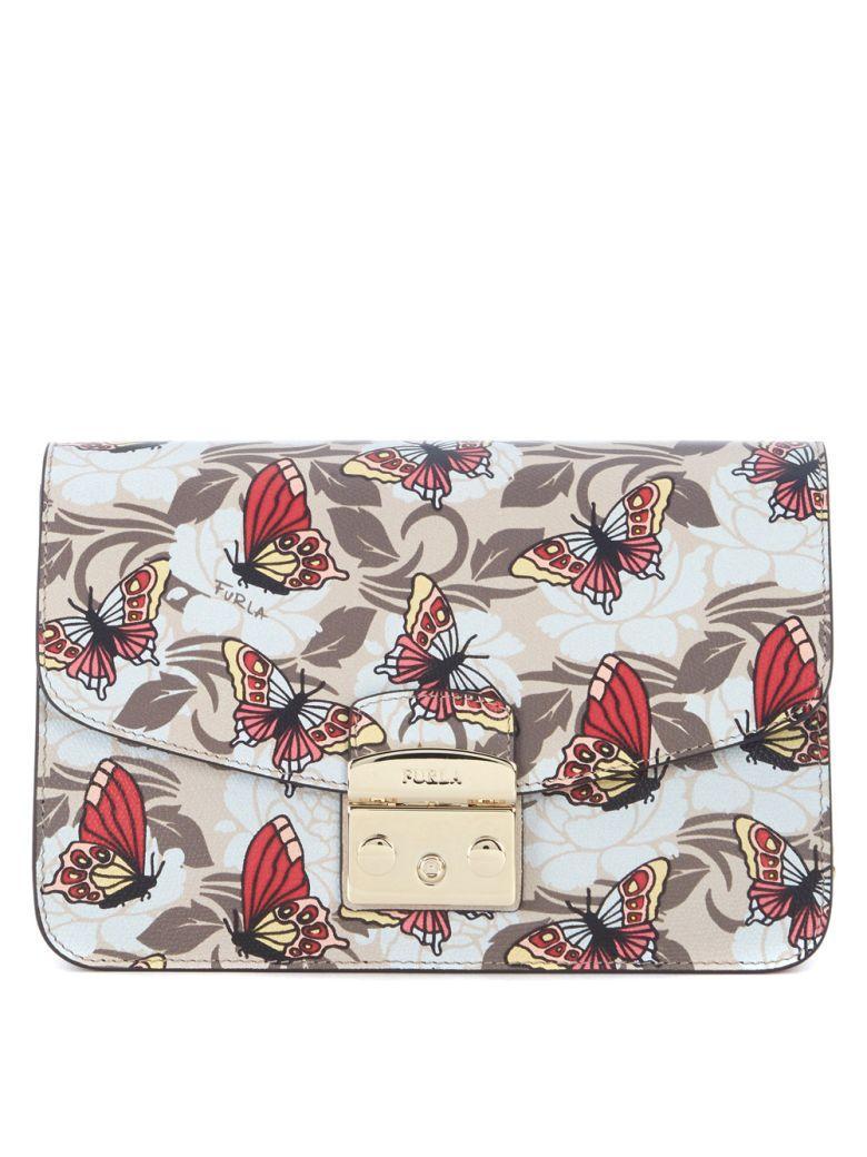 Furla Metropolis Shoulder Vanilla Leather Bag With Butterflies In Multicolor