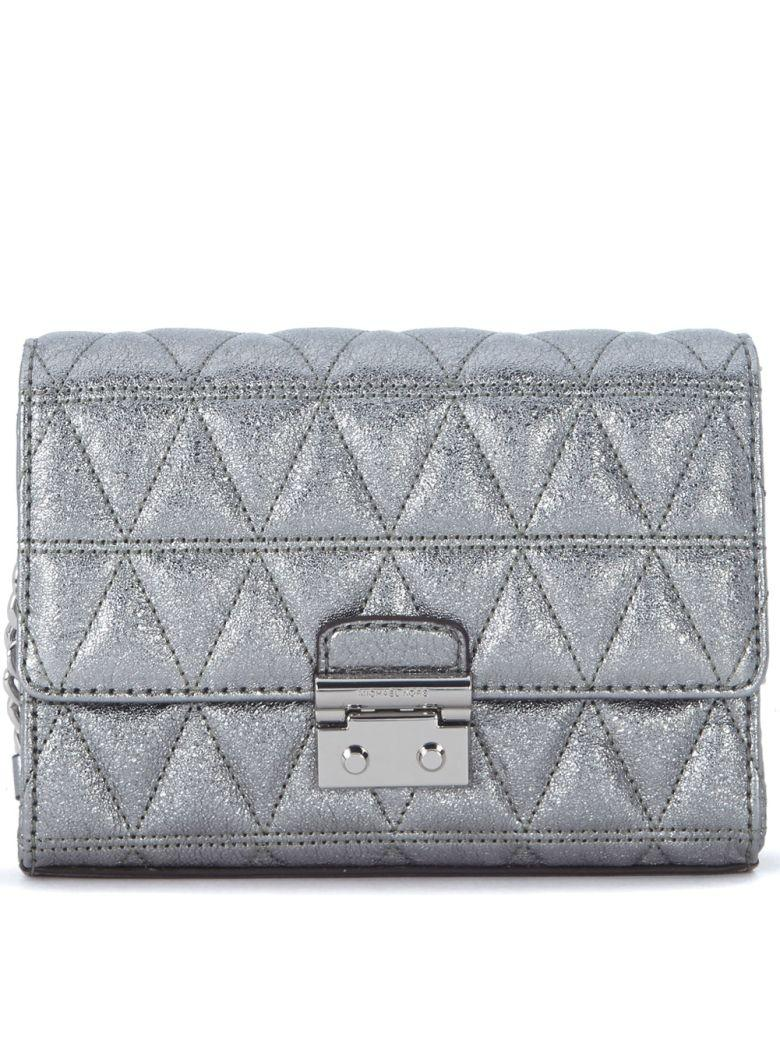 Michael Kors Ruby Silver Quiltd Leather Clutch With Shoulder Strap In Argento