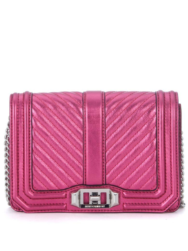 Rebecca Minkoff Small Love Fuchsia Padded Laminated Leather Shoulder Bag In Rosa