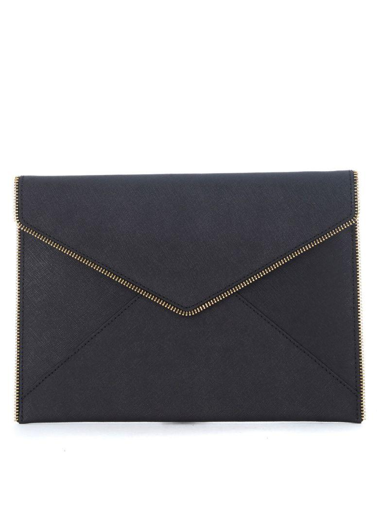 Rebecca Minkoff Leo Black Saffiano Leather Pochette In Nero