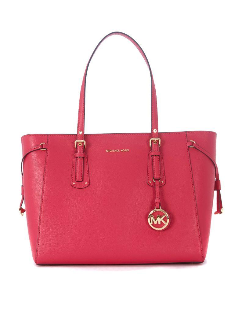 Michael Kors Voyager Pink Leather Shopping Bag In Rosa