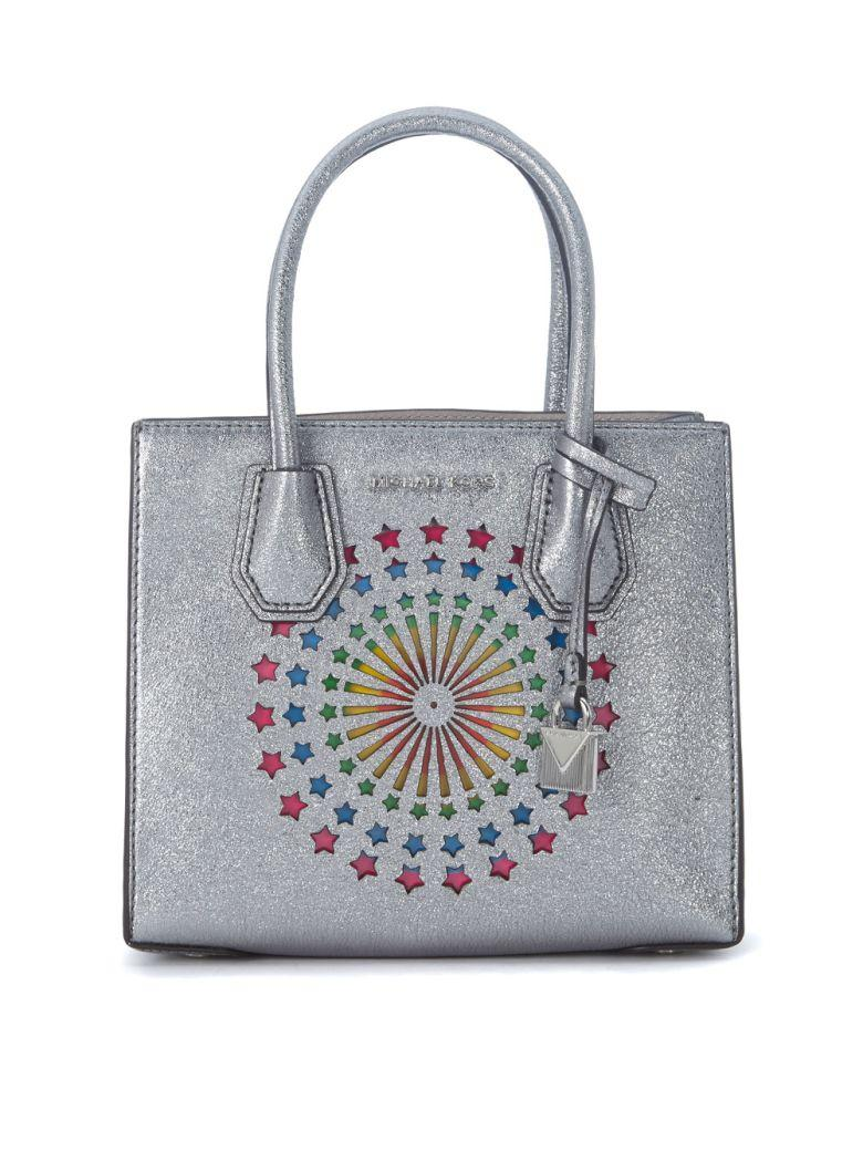 Michael Kors Mercer Messenger Silver Metal Leather Bag With Rainbow Stars In Argento