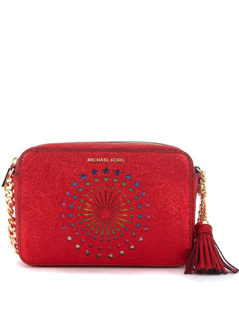 Michael Kors Ginny Red Metal Leather Shoulder Bag With Stars In Rosso