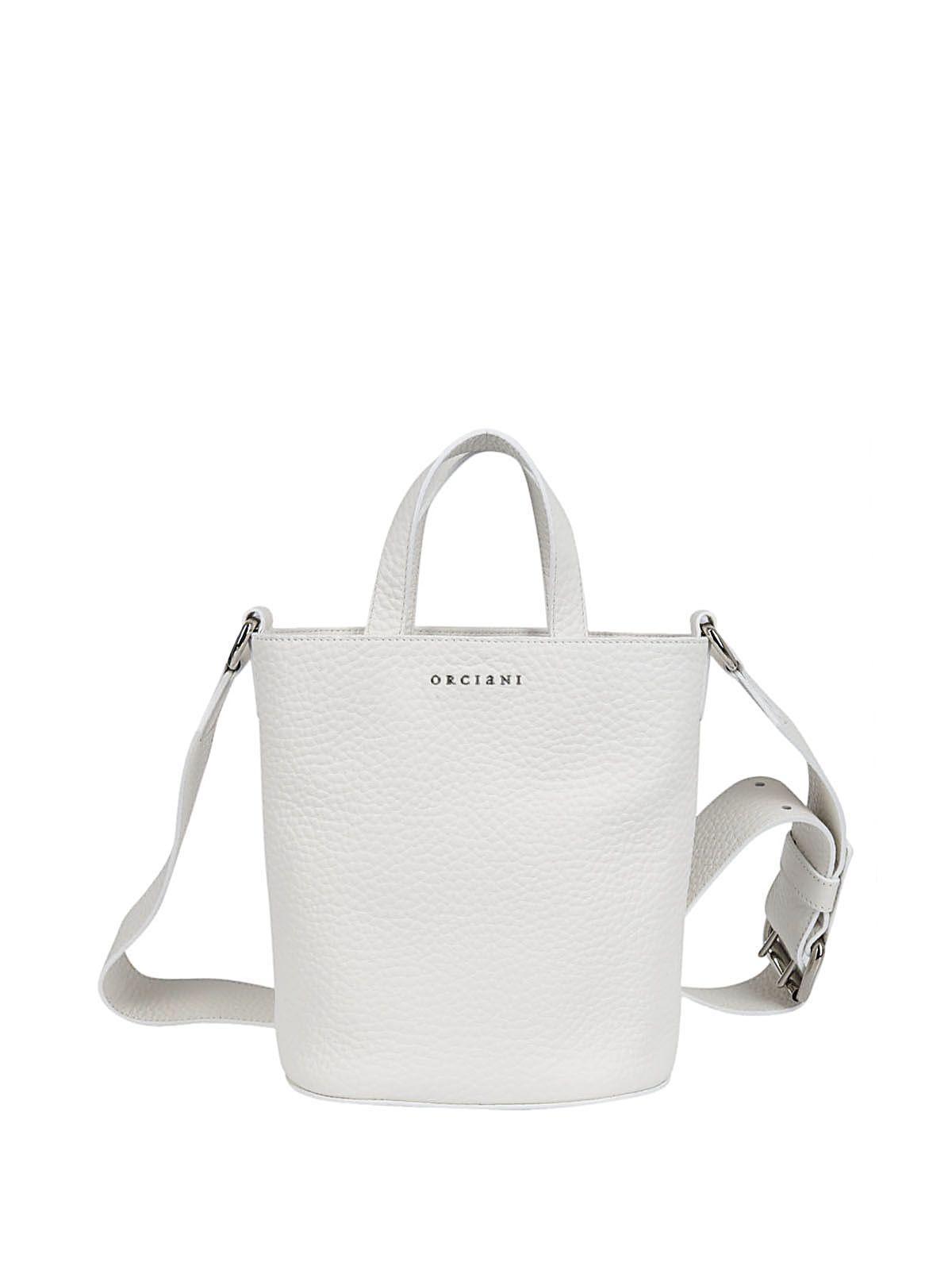 Orciani Soft Bucket Shoulder Bag In White