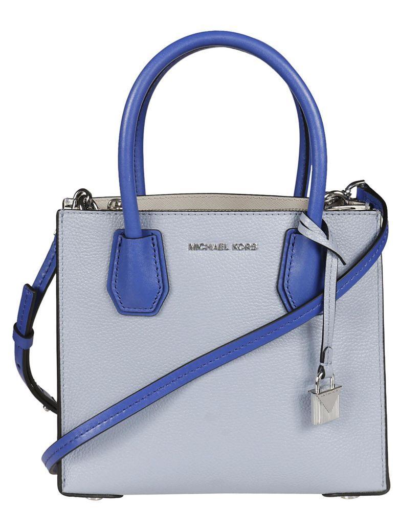 Michael Kors Color Block Mercer Shoulder Bag In Plbl-wt-elbl