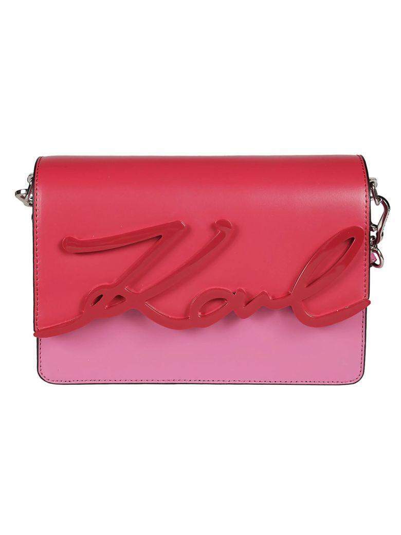 Karl Lagerfeld Signature Logo Shoulder Bag In Azalea