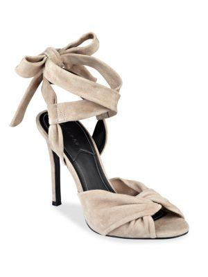 Kendall + Kylie Delilah Bow Suede Ankle Tie Sandals In Light Natural