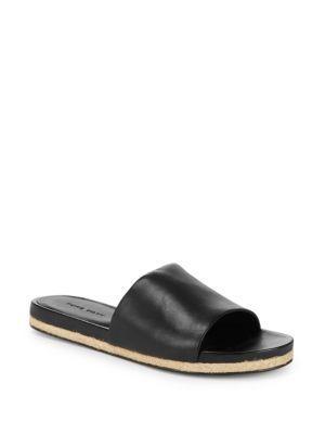 Saks Fifth Avenue Slip-on Leather Slides In Black