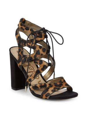 Sam Edelman Calf Hair & Leather Ankle Strap Sandals In Brown Leopard