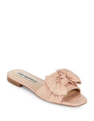 Karl Lagerfeld Rosie Snakeskin-embossed Leather Slides In Pink