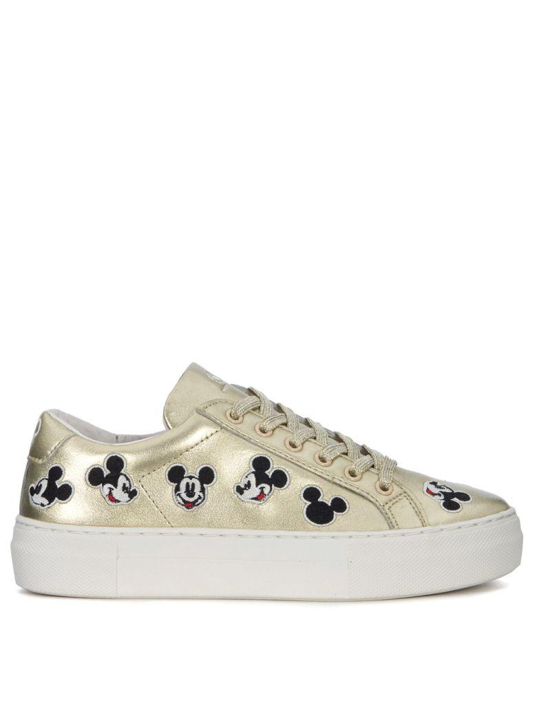 M.o.a. Master Of Arts Moa Mickey Mouse Gold Leather Sneakers In Oro