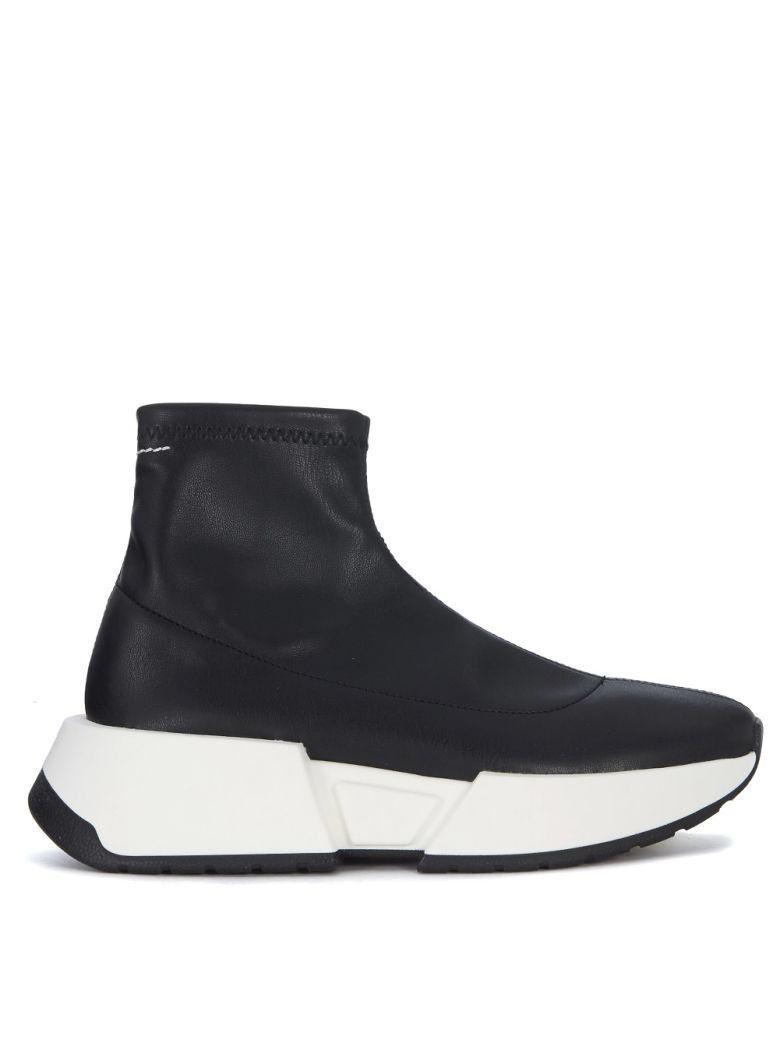 Mm6 Maison Margiela Black Faux Leather Sock Sneakers In Nero
