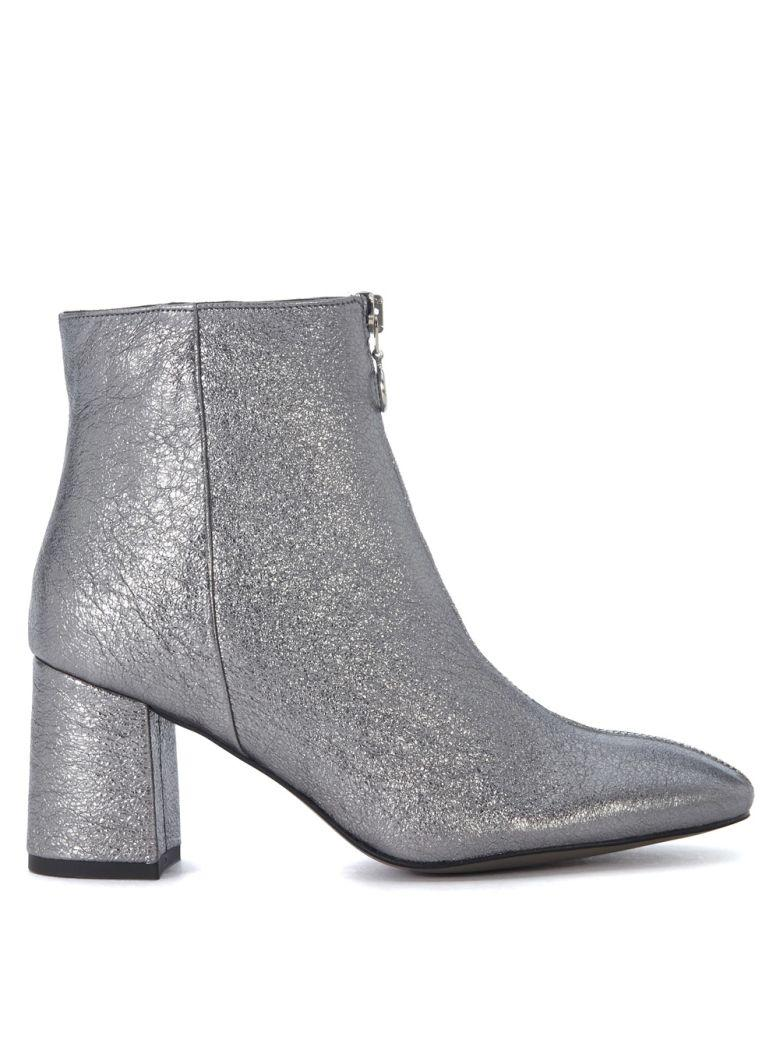Rebecca Minkoff Stefania Silver Leather Ankle Boots In Argento