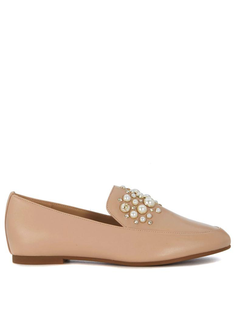 Michael Kors Gia Pale Pink Flat Shoes With Pearls In Rosa