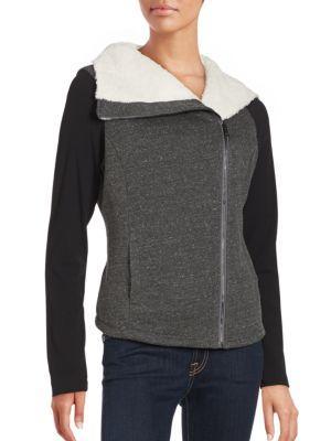 Alo Yoga Tao Faux Fur Zip-up Jacket In Dark Heather Grey